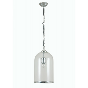 Cloche Clear Glass and Chrome Electric Pendant Light