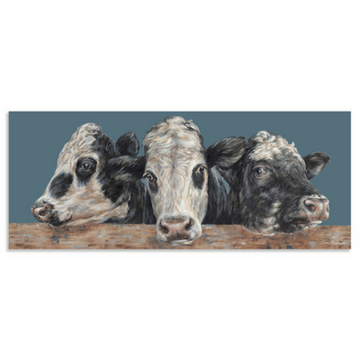 Frescian Cross Devon Cows Trio Canvas