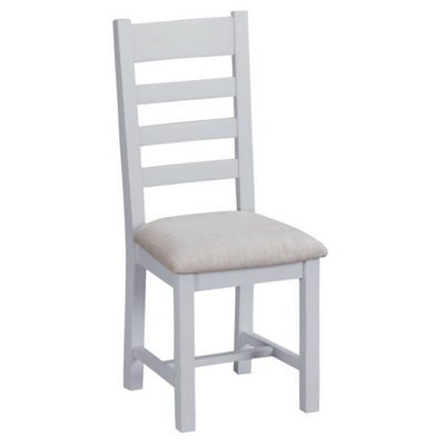 Thornby Ladder Back Fabric Chair in Grey or White
