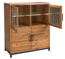 Abbey Industrial Highboard with Lights & Glass Doors