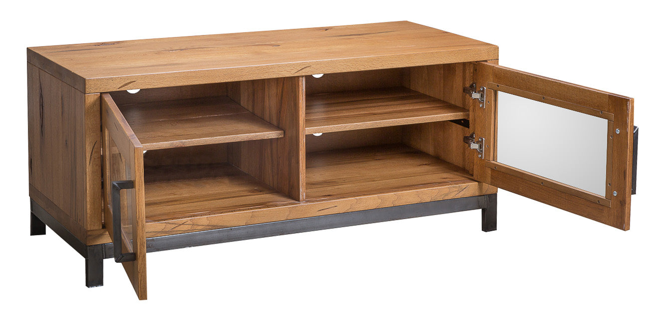 Abbey Industrial Standard Tv Unit With Glass Doors Grandads Shed