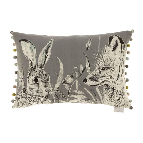 Voyage Hunt Charcoal Linen Cushion