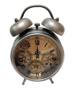 Silver Faux Alarm Skeleton Clock