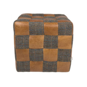 Patchwork Foot Cube in Harris Tweed and Leather