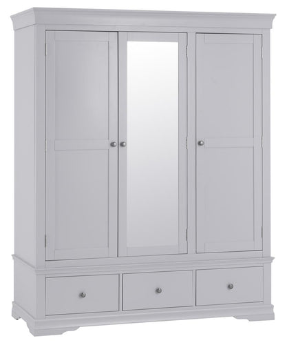 Swan Triple Wardrobe (Grey/White)