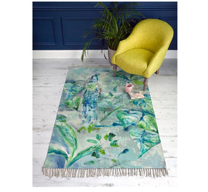 Ebba Rug - Teal Peacock design - 2 Sizes