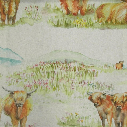 Soft Roll Blind - Highland Cattle Linen