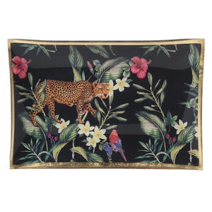 Tropical Plant and Leopard Trinket Tray