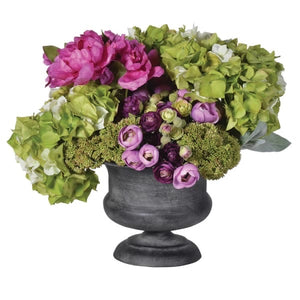 Lime and Cerise Mixed Floral and Hydrangea  Arrangement