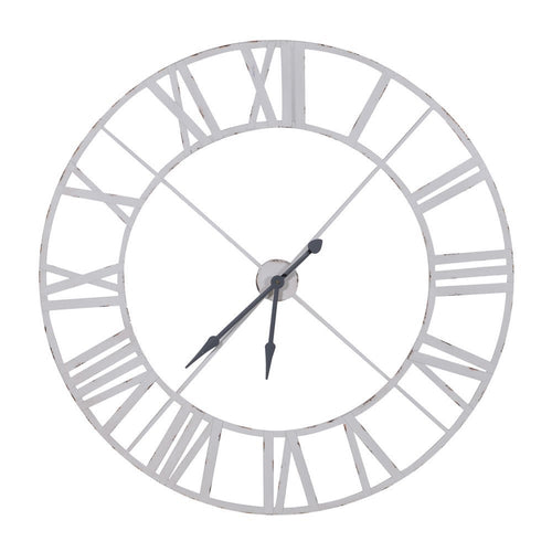 Large White Metal Distressed Outline Metal Clock