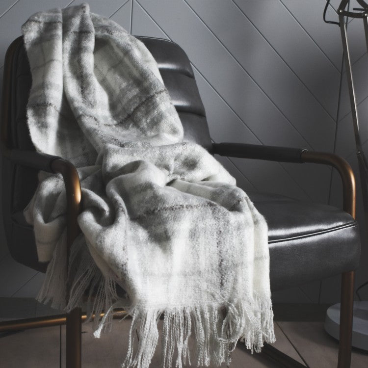 Check Mohair Grey Throw