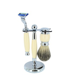 Faux Ivory Shaving Set