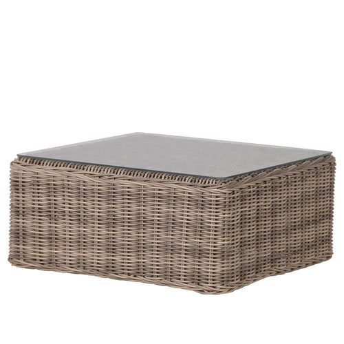 Rattan coffee table with glass