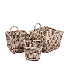 Set of 3 Square Baskets with Ear Handles