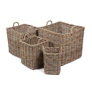Set of 4 Square Baskets with Ear Handles