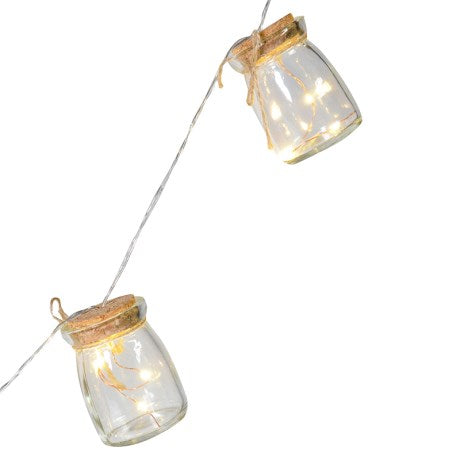 String of 8 Clear Jar LED Lights