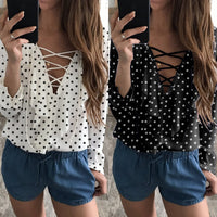 2018 Fashion Spring Summer Women Chiffon Blouse Sexy Lace Up V Neck Ruffles Long Sleeve Black White Tops Casual Plus Size Shirts