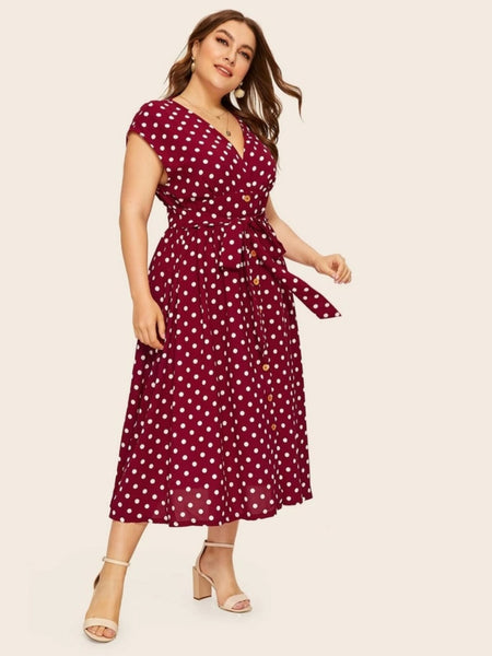 Belted Polka-Dot Button Front Dress - PLUS SIZES!!