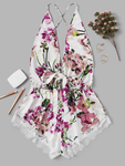 Backless Floral Romper Bodysuit w/ Lace Trim