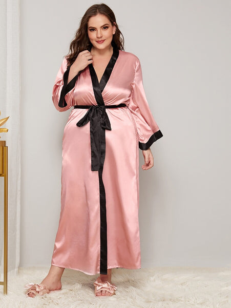 Plus Contrast Trim Self Belted Satin Robe