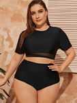 Sporty Short Sleeved Plus Mesh Bikini Swimsuit