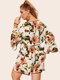 Floral Print Romper Contrast Trim - Plus Sizes Available