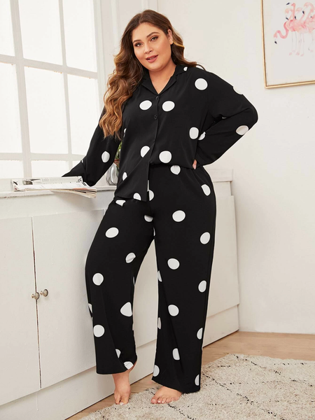 Plus Polka Dot Button-up PJ Set