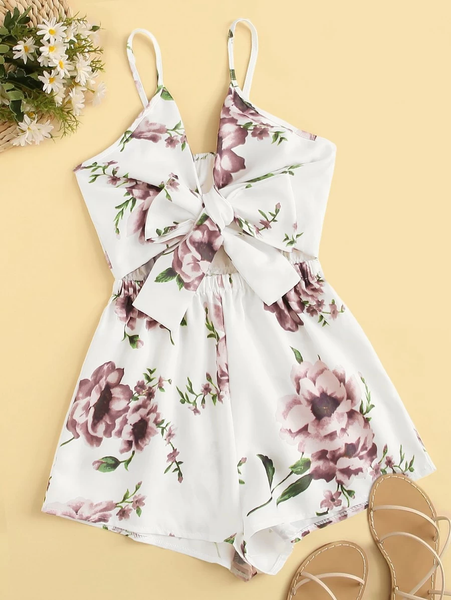 Plus Size Floral Romper Cami with Tie Front