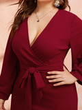 Elegant Surplice Neckline Straight Hem Belted Dress