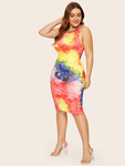 Plus Size Tie-Dyed Casual Tank Sheath Dress