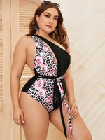 Plus Floral & Leopard Knot Front One Piece Swimwear