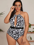 Plus Leopard Belted Halter One Piece Swimwear