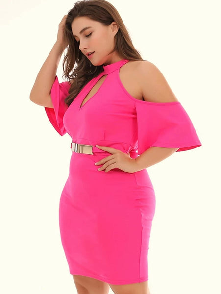 Plus Neon Pink Cold Shoulder Bodycon Dress