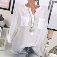 Spring Autumn Women Shirt Long Sleeve Blouse Solid Color Tops Lace Patchwork Loose Shirts Plus Size S-5XL JL