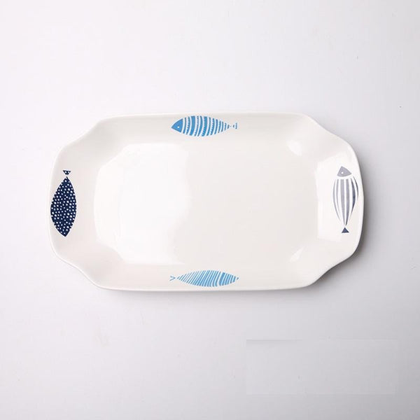 White with Fish Design Platter