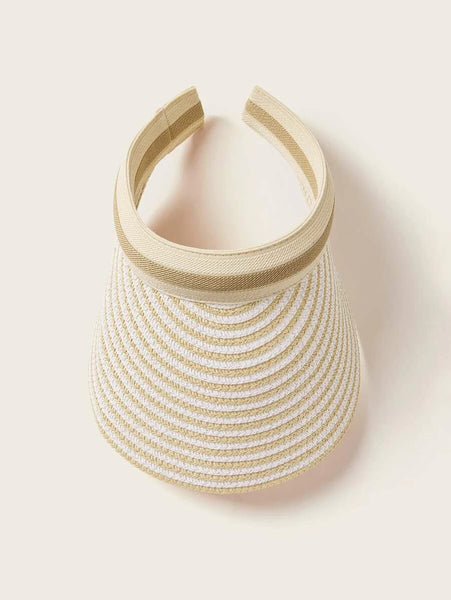 Wide Brim Straw Visor Hat