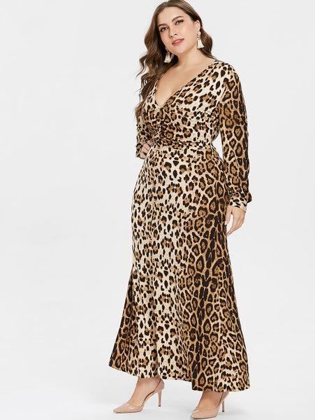 Plus Size Sexy V Neck Leopard Dress  - Long Sleeves