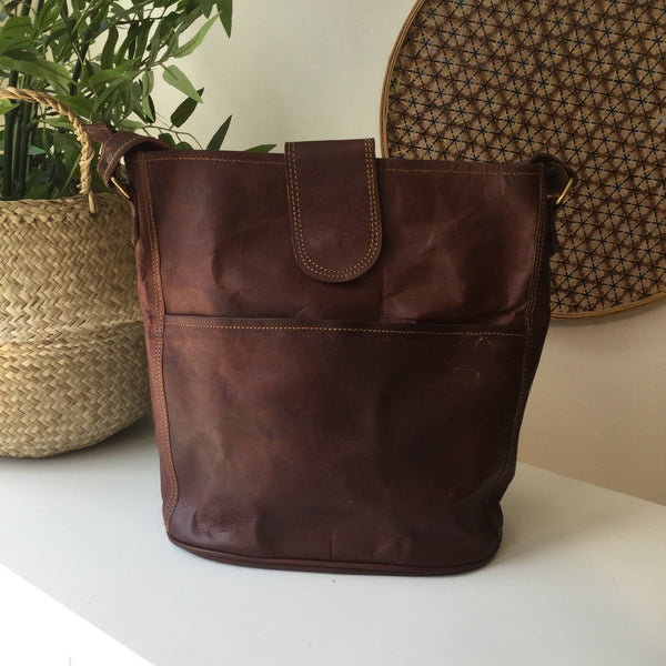 "LARGE FAIR TRADE LEATHER 12"" BUCKET BAG"