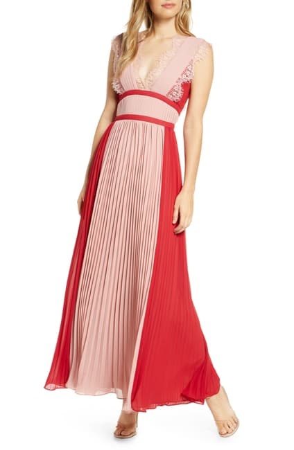 PLEATED GOWN W/LACE DETAIL