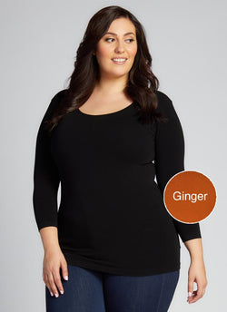 GINGER BAMBOO PLUS SIZE 3/4 SLEEVE TOP