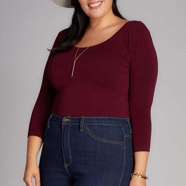 BORDEAUX BAMBOO PLUS SIZE 3/4 SLEEVE TOP
