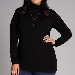 BLACK BAMBOO PLUS SIZE TURTLENECK TOP