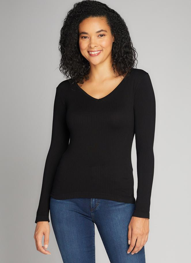 SEAMLESS RIB V NECK TOP
