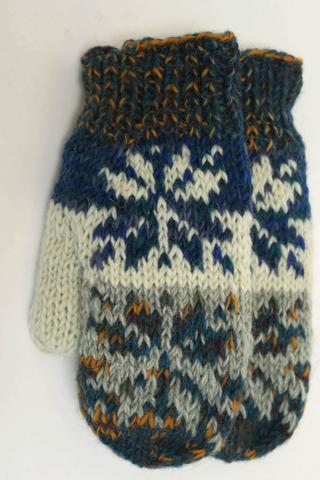FAIR TRADE MITTS SNOWFLAKE BLUE MIX