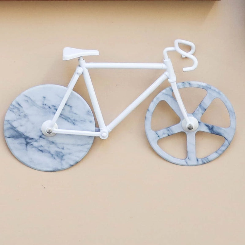 FIXIE BICYCLE WHITE MARBLE PIZZA CUTTER