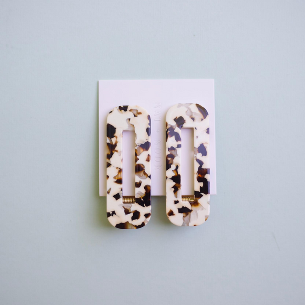 COCO CREAM TORTOISE DUO HAIR CLIPS