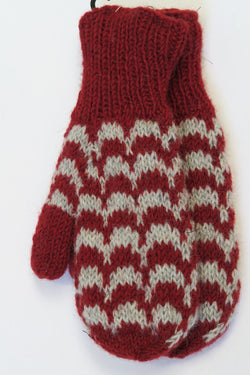 FAIR TRADE WOOL MITTS RED WAVE
