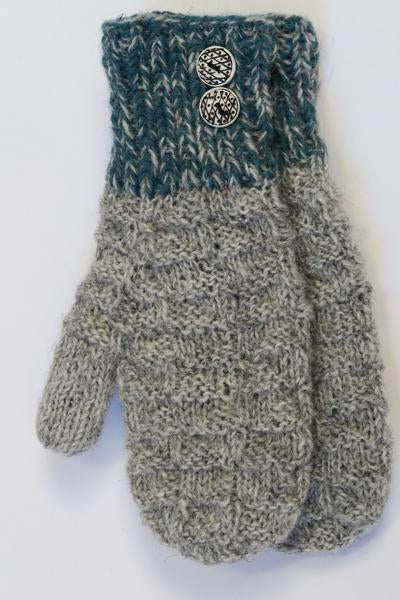 FAIR TRADE MITTTS  GREY BLUE WITH BUTTONS