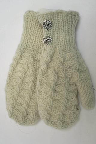 FAIR TRADE KNIT MITTEN WITH BUTTONS