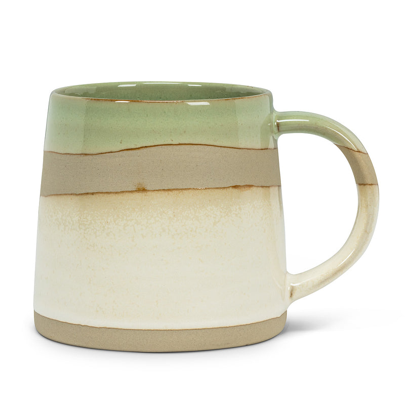 GREEN/WHITE RUSTIC MUG